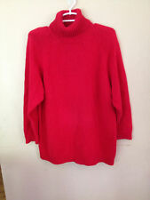 Leslie Fay Red Turtleneck Sweater Ramie Cotton Medium M Thick