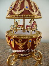 Russian Imperial Musical Carousel Egg Blue Danube Waltz with a pendant Necklace