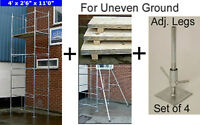 """DIY Scaffold Tower 5.2m (4' x 2'6"""" 17' WH) + Boards 2 Stabilisers & Adj. Legs"""