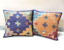 "2Pcs Cotton Decorative Pillowcase 18"" Kilim Cushion Cover Ethnic Handloom Pillow"