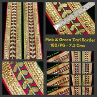 1 Yard Pink Gold Border Indian Suit Saree Zari Border SewOn Craft Gota Trim Lace