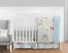 Bumperless Blue Grey Bear Deer Fox Forest Baby Girl Boy Nursery Crib Bedding Set