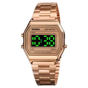 New Digital Classic Retro Sports Date Wrist Watch Stainless Steel Water Resistan