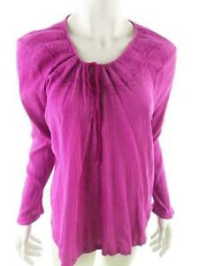 Weird Fish Women's Blouse Size 12 (40) pink embroidery cotton 100%