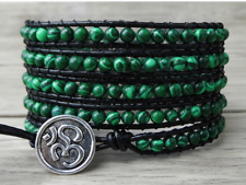 Natural Malachite Beaded Wrap Bracelet, Leather Green Crystal Cuff Friendship