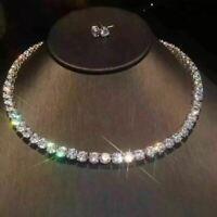 "40Ct Round Cut VVS1/D Diamond One Row 18"" Tennis Necklace 18K White Gold Finish"