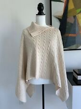 RALPH LAUREN wool & cashmere cable poncho L