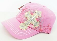 Women's Vintage Style Cross Rhinestone Bling Trendy Fashion Baseball Cap-Pink