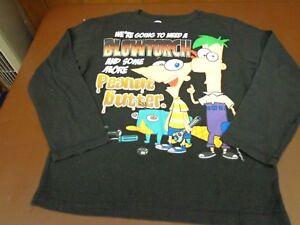 Disney's PHINEAS & FERB - L/S Thermal Blk Tee Shirt  Boys sz 10/12  D2
