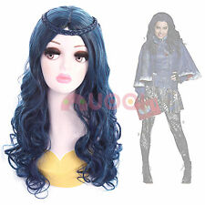 USA Ship Descendants Evie Braid Blue Black Mixed Color Long Wavy Cosplay Wig