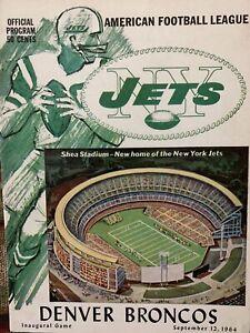 1964 Historic Shea Stadium Inaugural Game NYJETS vs DENVER football program-MINT