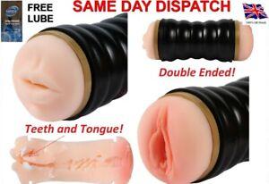 Adult Sex Toys Double Ended Flesh Sleeve Vagina & Blow Job Masturbator FREE LUBE