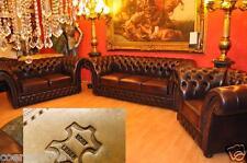Chesterfield Victorian Antik Braun  Leder 3+2+1 Kombination