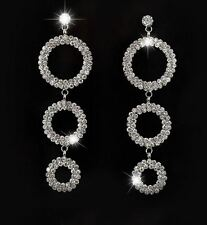 SPARKLE TRIPLE CIRCLE HOOPS SILVER DOUBLE ROW RHINESTONE CRYSTAL DANGLE EARRINGS