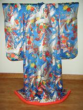 Unique Vintage Blue Japanese Silk Uchikake Wedding Kimono w/ Cranes & Floral