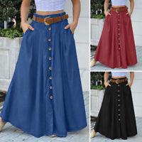 ZANZEA UK Womens Pleated Button Down Skirts A Line Flare Swing Long Maxi Dress