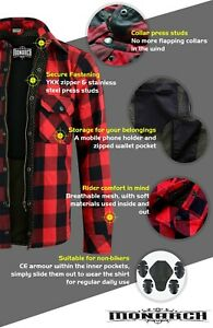 RED Men Motorcycle Kevlar Flannel Lumberjack Shirt Made with DuPont™ CE Armor