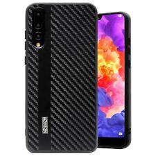 Cover Huawei P20 Originale Noziroh Carbon Case Antiurto Spessa Navy Rugged