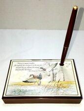 Mallard Duck Desk Pen Holder w/ Poem by Alfred Billings Street Pen still works