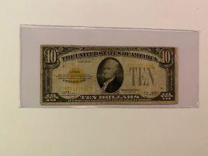 1928 $10 Gold Certificate FR# 2400 AA Block Woods Mellon CIRCULATED