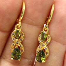 Sparkling Pear Peridot Earrings Women Engagement Jewelry Gift Yellow Gold Plated