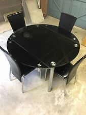 Black Extendable Glass Dining Table and 4 Chairs