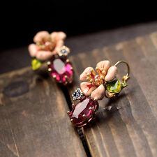 Boucles d'Oreilles Email Dormeuse Fleur Rose Feuille Vert Retro Doré L1