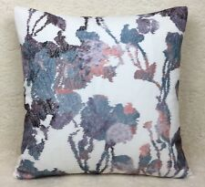 "John Lewis Rhea Fabric Cushion Cover 16""x16""  Pink Purple Embroidered"