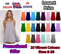 Womens Strappy Cami Swing Short Dress Flared Sleeveless Long Top UK 8-28 »