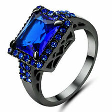 Vintage Square Sapphire Wedding Band Ring Women's Black Rhodium Plated Size 9