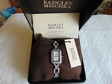 BADGLEY MISCHKA Ladies Swarovski Crystal Mother of Pearl Polished SS Watch L@@K!