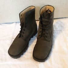 J.CREW Women's Leather Combat Lace Up Shoes Boots Size 6 Gray Brown