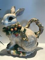 Vintage Fitz And Floyd Rabbit Pitcher Classic Snowy Woods Bunny, A-110