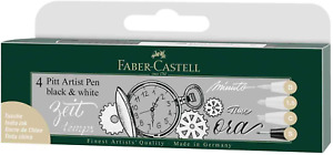 Faber Castell FC167151 PITT Artist Pen - Black/White Pack of 4