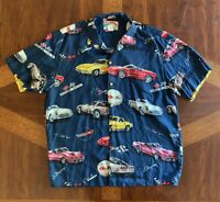 Mens Corvette Stingray Print Paradise Found Hawaiian Style Blue Shirt Size L