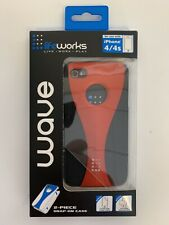 LIFEWORKS 2-PIECE SNAP-ON CASE FOR APPLE IPHONE 4/4S BLACK AND RED - New