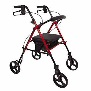 ProBasics Aluminum Rolling Walker for Seniors - Adjustable Seat & Height with...