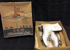 Vintage CCM White Ice Skates w/ Orig. Box Ladies Size 8 Hockey Riedell Pro Style