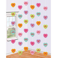 Candy Hearts String Decorations for your Valentine's Day party Set of 12