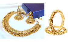 Indian Bollywood Antique Gold Plate Polki Necklace jhumki earring Bangle Jewelry