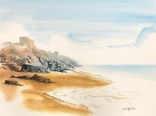 "Carl Martin, ""Beach View"" original watercolor painting on Arches"