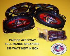 NEW PAIR 250 WATT 4X6 3 WAY FULL RANGE STEREO RADIO SPEAKERS SHALLOW MOUNT DEPTH