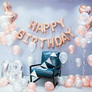 16'' HAPPY BIRTHDAY Banner Balloons Bunting Birthday Party Decorations Muticolor