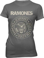 The Ramones-Distressed Seal-Girl's Large Junior Charcoal Gray T-shirt