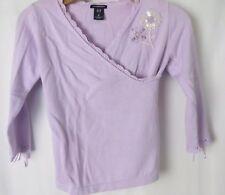 Gap Girls Cross Over Sweater Crochet Lace Trim Ribbon Detail Lilac M (8)  #5711
