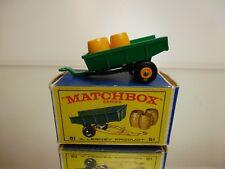 MATCHBOX LESNEY 51 TRAILER + 3 BARRELS - GREEN - GOOD CONDITION IN BOX