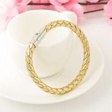 Fashion Men's Leather Braided Bracelet Magnet Clasp Bangle Wristband Gift