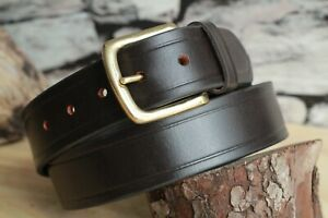 Handmade Bridle Leather Belt Black Brown Solid Heavy Brass Buckle 4.5mm Thick UK
