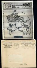 1944 Illustrated Christmas V-MAIL Letter + Envelope - OAHU to Bellefonte PA