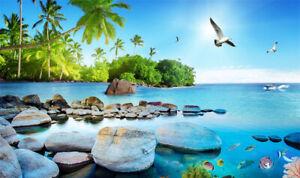 Vinyl Blue Sea Rocks Green Palm Trees Backdrop Photography Background 20x10ft LB
